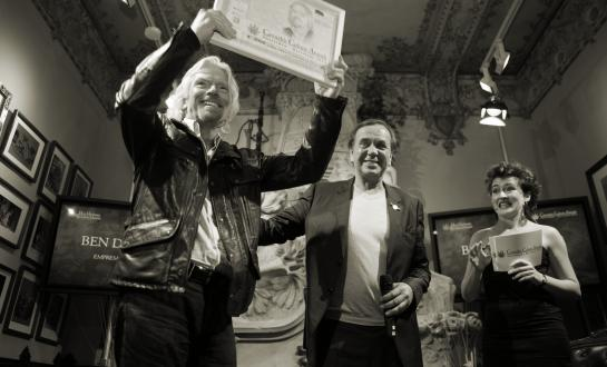 Richard Branson and Ben Dronkers at the CCA ceremony in Barcelona