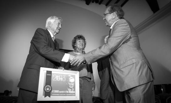 Ben Dronkers congratulates Frits Bolkestein