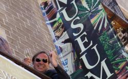 Ben Dronkers celebrating the opening of the Hash Marihuana Cáñamo and Hemp Museum